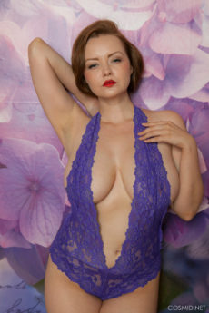 Lovely and Very Curvy Redhead Natasha Plays In Her Lacy Lingerie