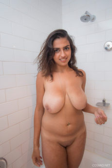 Sultry exotic curvy girl Lena Moore takes a shower and soaps up her huge tits and big butt