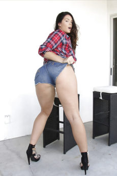 Black haired solo cutie Alison Tyler flaunting large butt in advance of masturbating