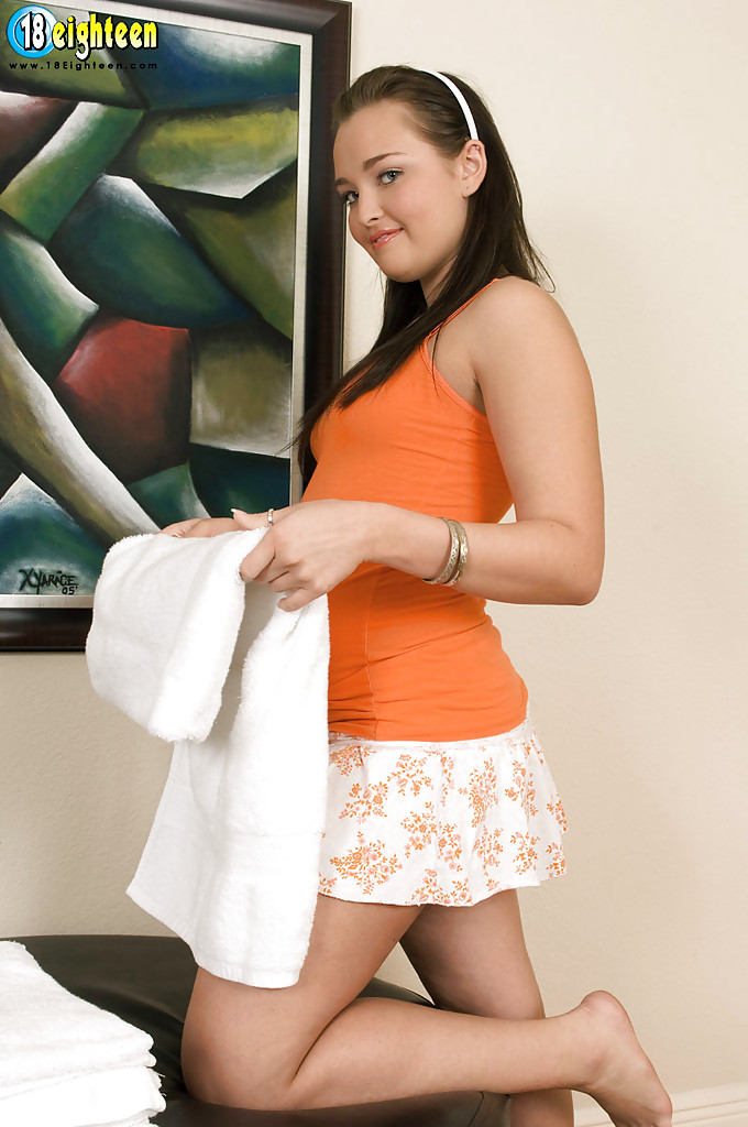 Lovely legal age teenager hefty babe Chelsea Enjoy widening gams and stroking