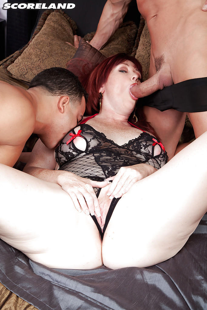 Plump older woman Heather Barron having double penetration sex with two guys